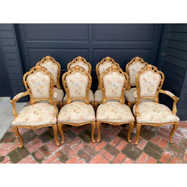 Antique Gold Leaf Painted Louis XIV Style Chairs - Set of 8 For Sale - Image 12 of 12