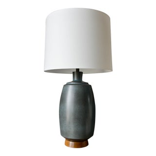 Circa 1960 David Cressey Blue Speckle Glaze Stoneware Table Lamp For Sale