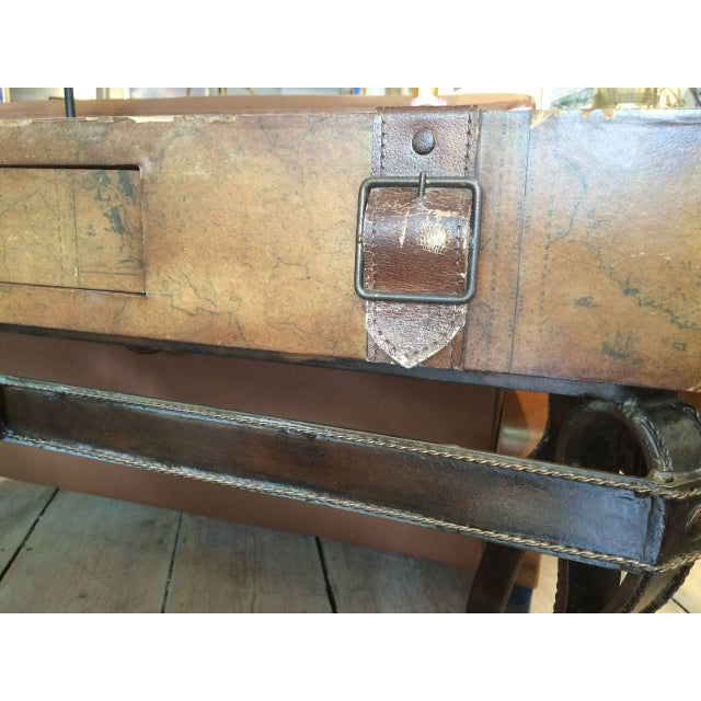 Campaign World Map Suitcase Table With Leather Straps and Buckles For Sale - Image 3 of 11