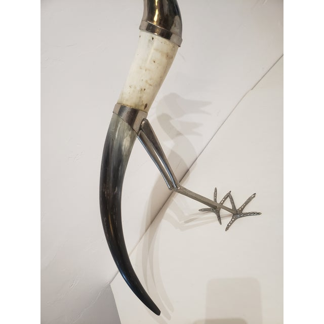 Arts & Crafts 1960s Horn and Metal Signed Bird Sculpture For Sale - Image 3 of 7