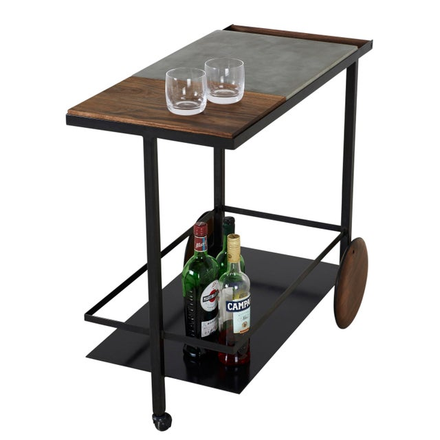 Concrete Steel and Walnut Bar Cart For Sale - Image 9 of 9