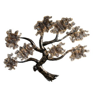 Brass And Metal Tree Wall Art Sculpture For Sale