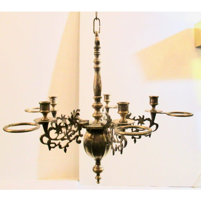 French Silver Plate Bronze Candle and Oil Chandelier For Sale - Image 11 of 11