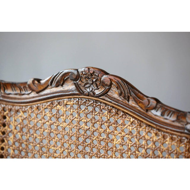 19th Century Louis XV Style Caned High Back Wood Chaise For Sale In New York - Image 6 of 11