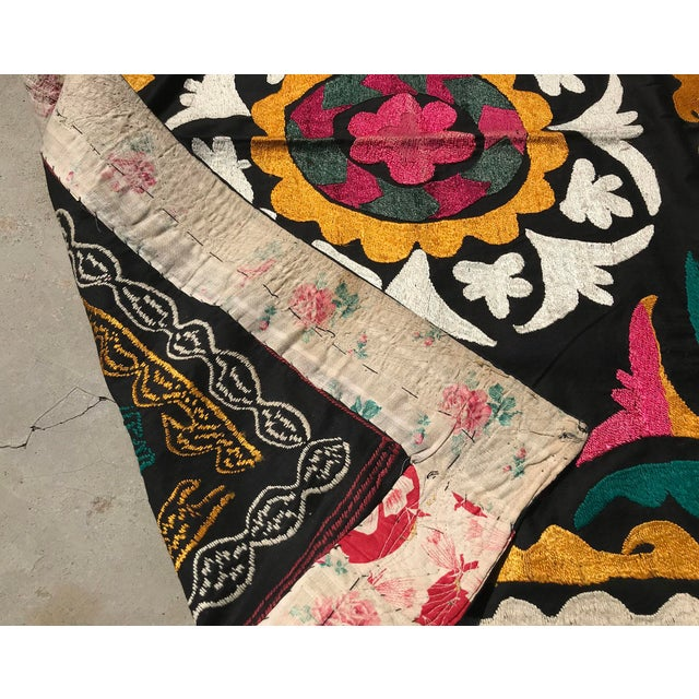 1960s Vintage Small Handmade Suzani Fabric Table Cover For Sale - Image 5 of 7