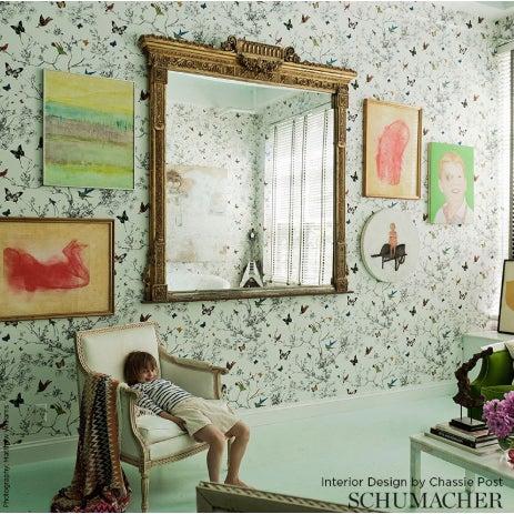 Schumacher Birds Butterflies Luxe Wallpaper In Multicolor On White 2 Roll Set 10 Yards