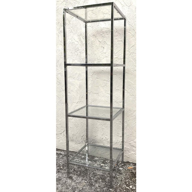 Milo Baughman Style Tall Chrome and Glass Column Étagère For Sale In West Palm - Image 6 of 10