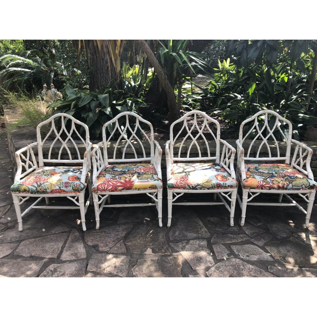 Chinese Chippendale Faux Bamboo Arm Chairs - Set of 4 - Image 11 of 11