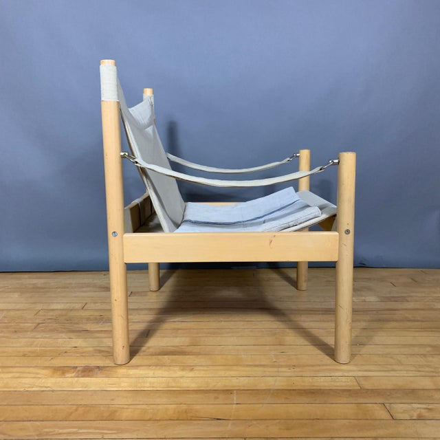 Oak & Canvas Safari Chair, Grainsack Seat, Worts Style For Sale - Image 11 of 11