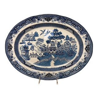 """Traditional Blue Willow 18"""" Serving Platter For Sale"""