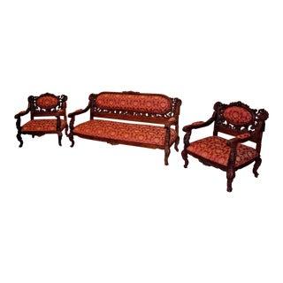Red Carved Victorian Parlor Set - Set of 3 For Sale
