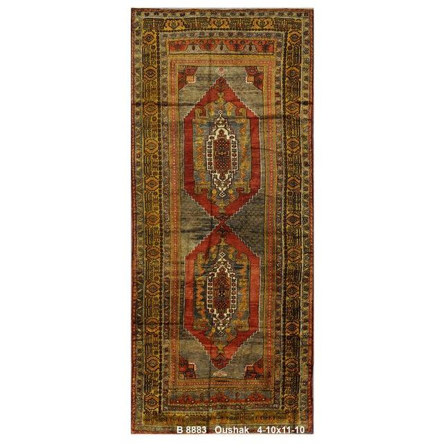 """Vintage Turkish Oushak Rug - 4'10"""" x 11'10"""" For Sale"""