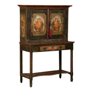 20th Century Traditional Two Door Hand Painted Cabinet For Sale