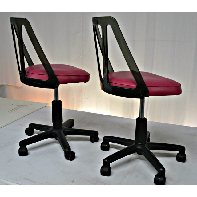Vintage Smoked Lucite Office Chairs - Pair - Image 8 of 9