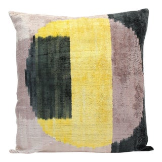 "Boho Chic Natural Silk Velvet Ikat Pillow - Citrus Moon Yellow and Black, 24"" X 24"" For Sale"