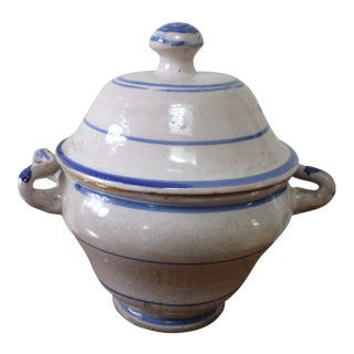 French Faience Blue and White Tureen, Early 19th Century For Sale