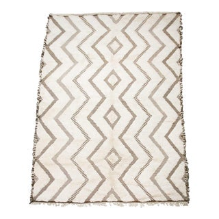 Ivory and Brown All Natural Shag/Zanafi Flat-Weave MIX Contemporary Moroccan Rug For Sale