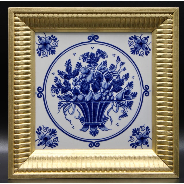 Delft Mid-20th Century Dutch Delft Floral Gilt Wood Framed Tiles - a Pair For Sale - Image 4 of 13
