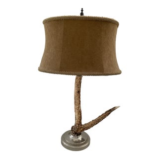 Mid-Century Vintage Antler Lamp With Shade For Sale