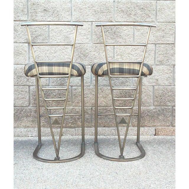 Milo Baughman Bar Stools -- A Pair - Image 5 of 10