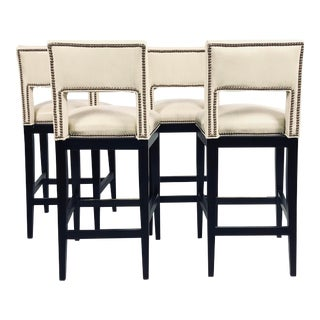 Modern Eggshell Leather Barstools - Set of 4