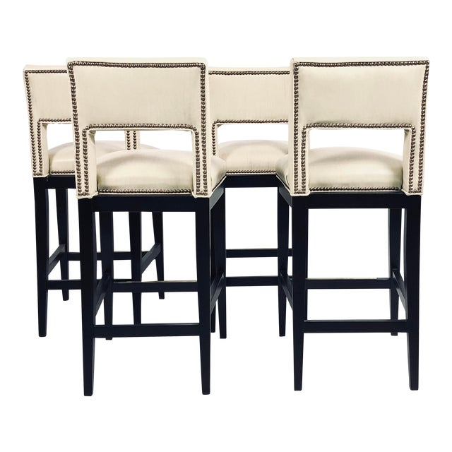 Modern Eggshell Leather Barstools - Set of 4 For Sale