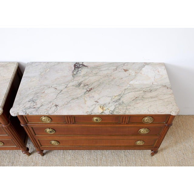 Pair of Louis XVI Style Marble Top Commodes or Dressers For Sale In San Francisco - Image 6 of 13