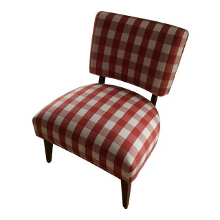 1980s Vintage Buffalo Plaid Upholstered Accent Chair For Sale