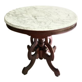 Antique Victorian Marble Top Parlor Table For Sale