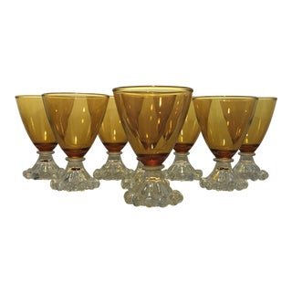 1960s Mid-Century Modern Anchor Hocking Boopie Amber Glasses - Set of 8 For Sale