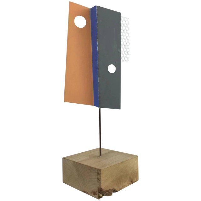 1980s Modern Geometric Perforated Metal Sculpture For Sale