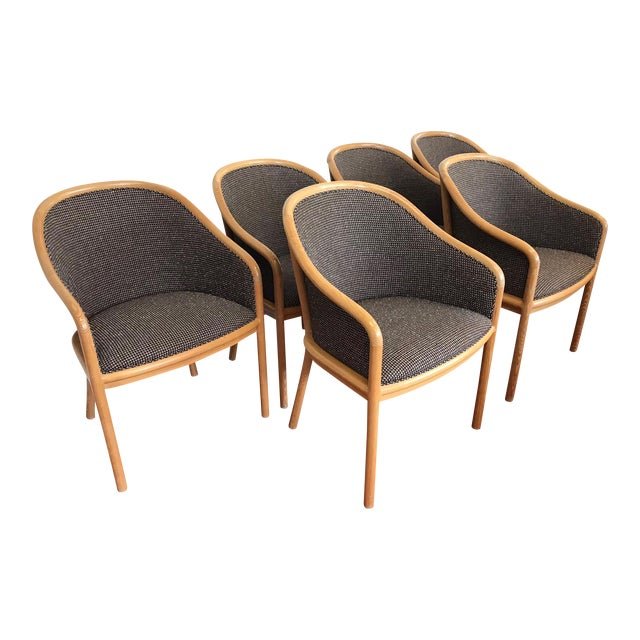 "Ward Bennett for Brickel Associates (Now Geiger) ""Landmark Chair"" From Herman Miller - Set of 6 For Sale"