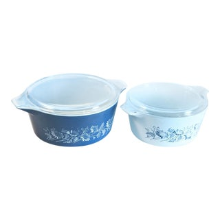 Blue & White Pyrex Casseroles - A Pair