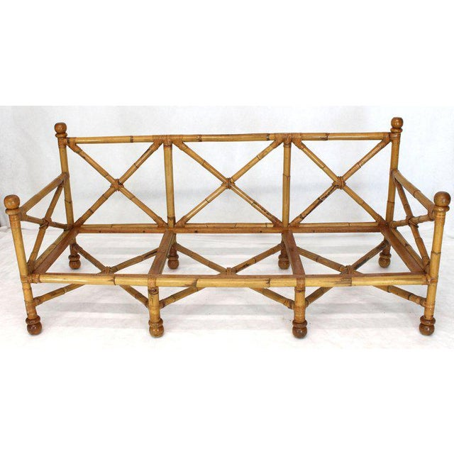 Heavy Gage Thick Bamboo and Leather X-Base Sofa Frame For Sale - Image 12 of 12
