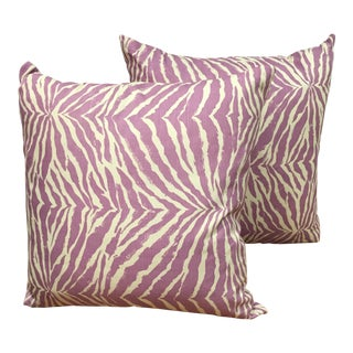 China Seas Purple Zebra Fabric Pillows - A Pair For Sale