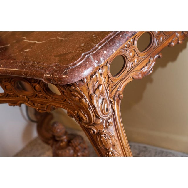 French Marble top console For Sale - Image 3 of 9