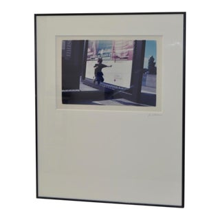 Color Photograph of Child Jumping in Front of French Museum Poster For Sale