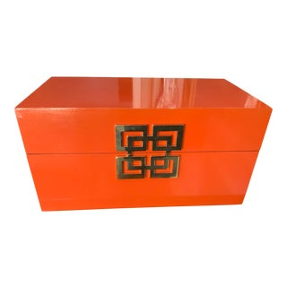 High-Gloss Orange Box Embellished With the Greek Key For Sale