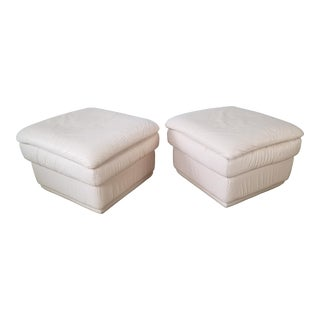 80s Italian Postmodern Style Leather Ottomans. - a Pair For Sale
