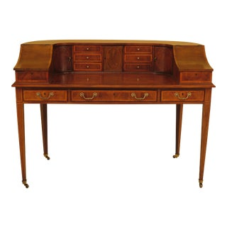 Wellington Hall Mahogany & Elm Carlton House Desk For Sale