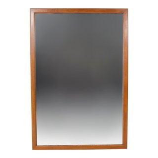 Vintage Mid Century Modern Wood Framed Mirror For Sale