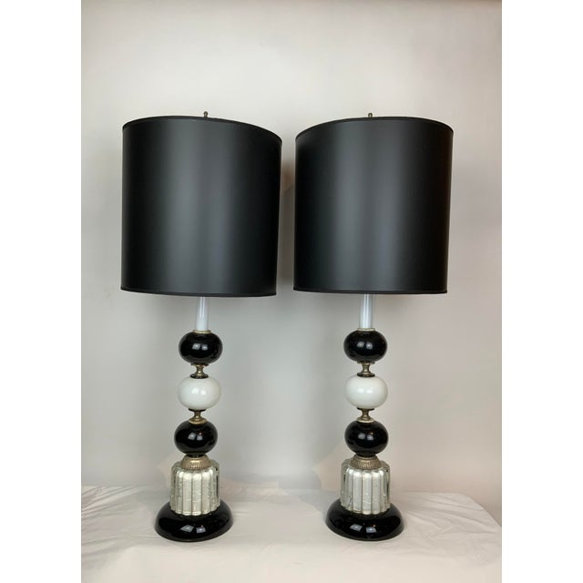 1940s Hollywood Regency Black & White Lamps - a Pair For Sale - Image 13 of 13