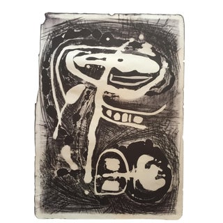 Mid Century Modern Abstract Stone Litho Jerry Opper For Sale