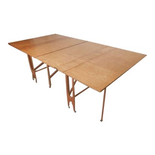 Massive Mid-Century Maple Fold Out Dining Table For Sale