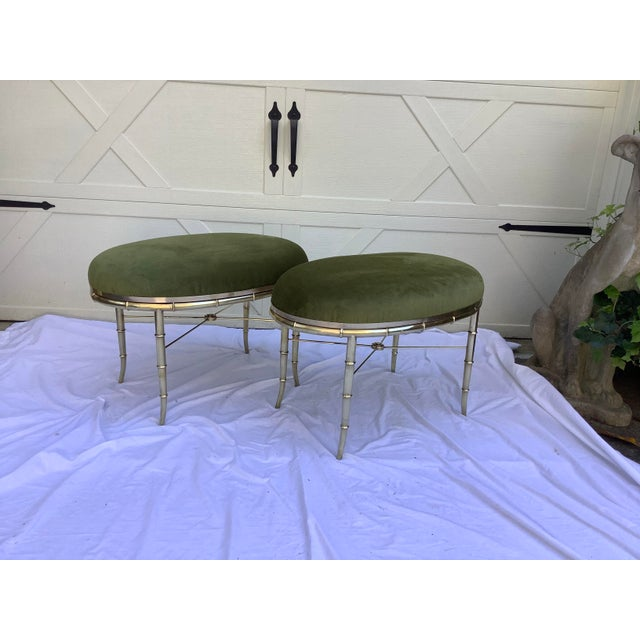 Oval pair of Italian brass stools by Mastercraft. These are originally, tables with glass inserts. I added the upholstered...