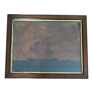 Mid 19th Century Antique Merchant Ship Colored Painting Print in Period Frame For Sale