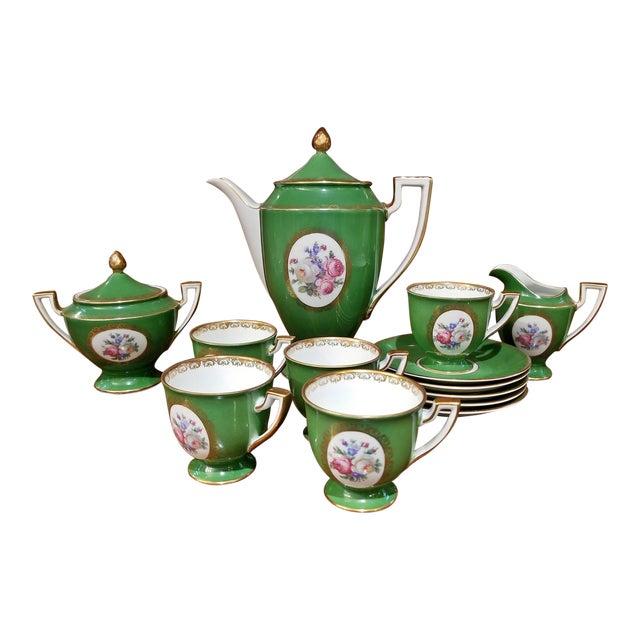 Vintage German Porcelain Royal Tettau Complete Coffee Service - 13 Pc. Set For Sale