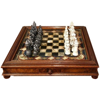 Victorian Reverse Painted Chess Board With Associated Chess Set For Sale