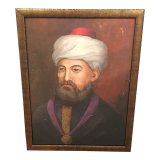 """Vintage """"Maimonides"""" Oil Portrait Painting on Academy Board For Sale"""