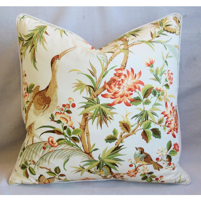 """Early 21st Century Chinoiserie Floral Birds & Crane Feather/Down Pillows 24"""" Square - Pair For Sale - Image 5 of 13"""